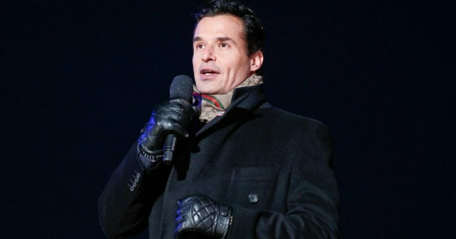 Host Antonio Sabàto Jr. onstage at the 96th annual National Christmas Tree Lighting at The Ellipse in President's Park on Nov. 28, 2018, in Washington, D.C.