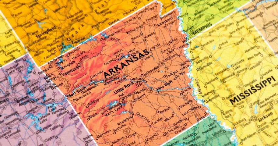 A map of Arkansas is pictured above.