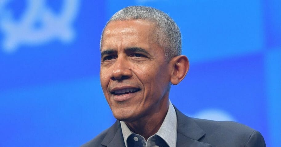 Former President Barack Obama speaks at the opening of the Bits & Pretzels meetup on Sept. 29, 2019, in Munich, Germany.