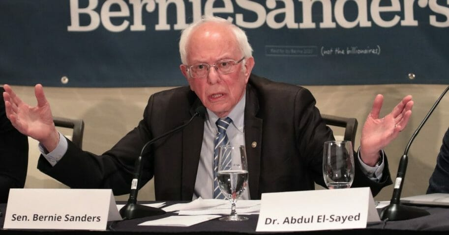 Democratic presidential candidate Sen. Bernie Sanders (I-Vermont) participates in a coronavirus public health roundtable with health care professionals as he continues his campaign swing through the Midwest on March 9, 2020, in Detroit, Michigan.