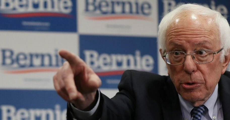 Democratic presidential candidate Sen. Bernie Sanders of Vermont talks to reporters at the Doubletree Hotel in Salt Lake City on March 2, 2020,