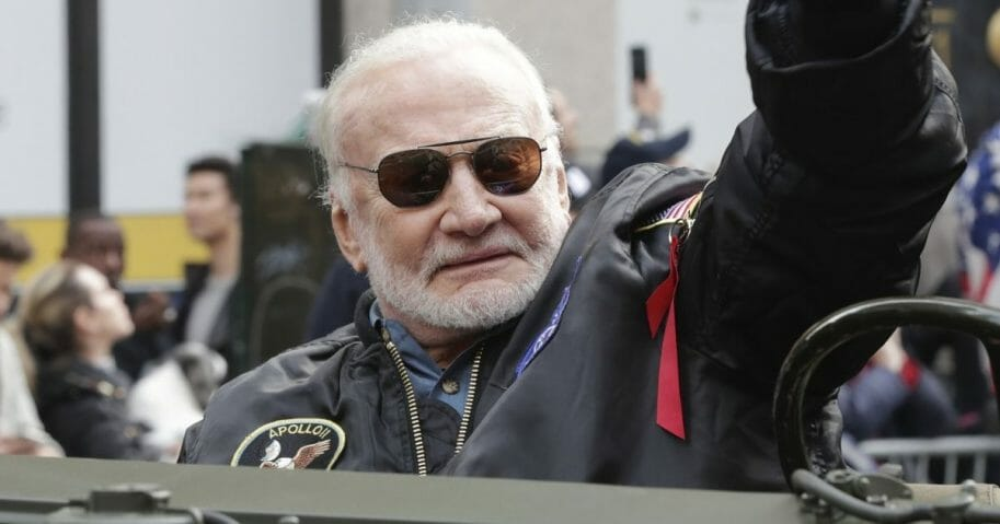 Buzz Aldrin, Apollo 11 astronaut, is seen during a parade to celebrate Veterans Day on Fifth Avenue in New York City on Nov. 11, 2019.