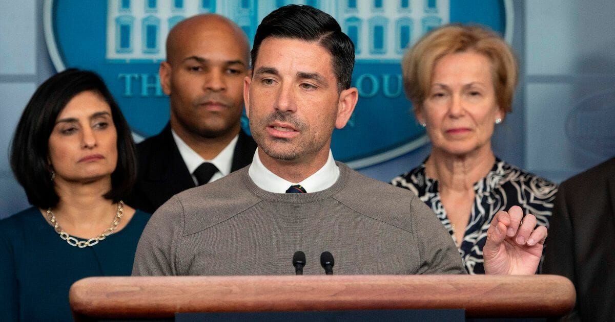 Acting Homeland Security Secretary Chad Wolf speaks during a news briefing about the coronavirus at the White House in Washington on March 14, 2020.