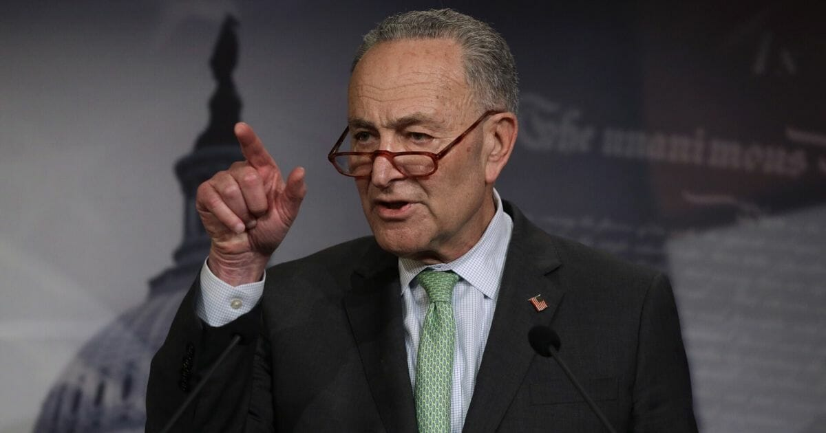 Senate Minority Leader Sen. Chuck Schumer (D-New York) speaks during a news conference at the U.S. Capitol on March 17, 2020, in Washington, D.C.