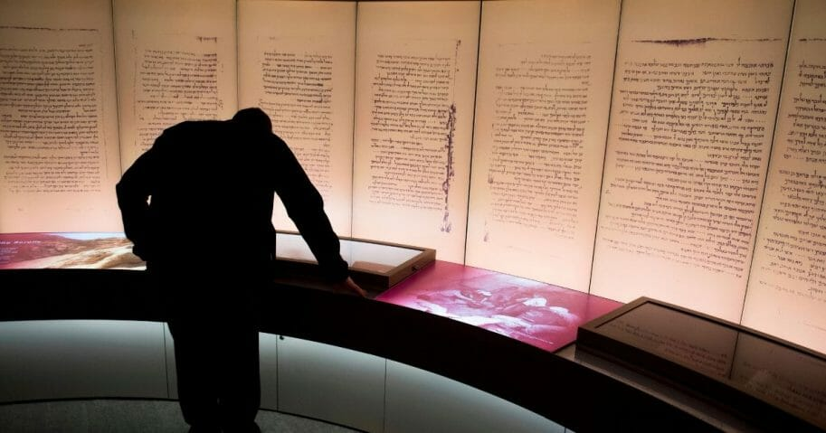 Visitors look at an exhibit about the Dead Sea scrolls at the Museum of the Bible in Washington, D.C., on Nov. 14, 2017.
