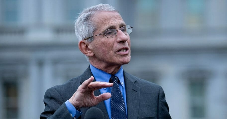 Dr. Anthony Fauci, director of the National Institute of Allergy and Infectious Diseases, speaks to the media outside the White House on March 12, 2020.