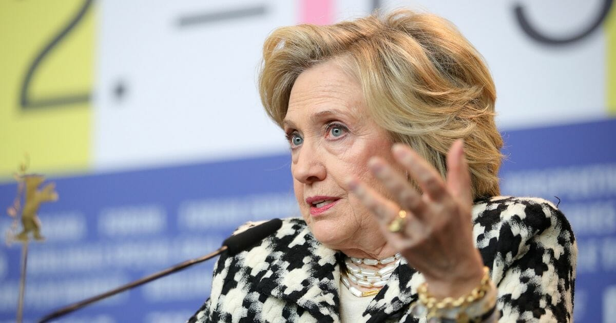 """Hillary Rodham Clinton on stage for the """"Hillary"""" news conference during the 70th Berlinale International Film Festival Berlin at Grand Hyatt Hotel on Feb. 25, 2020, in Berlin, Germany."""