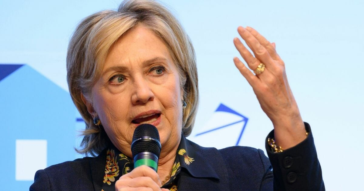 Hillary Clinton speaks during a visit to Swansea University in Wales on Nov. 15, 2019.