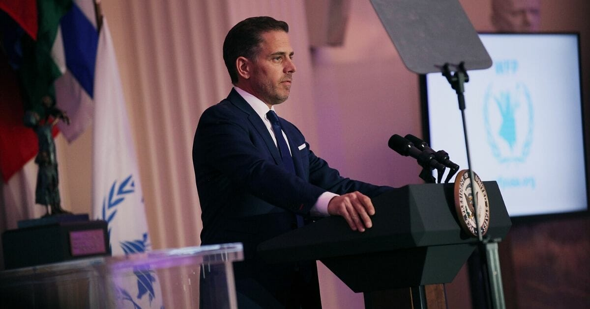Hunter Biden speaks on stage at the World Food Program USA's Annual McGovern-Dole Leadership Award Ceremony at Organization of American States on April 12, 2016, in Washington, D.C.
