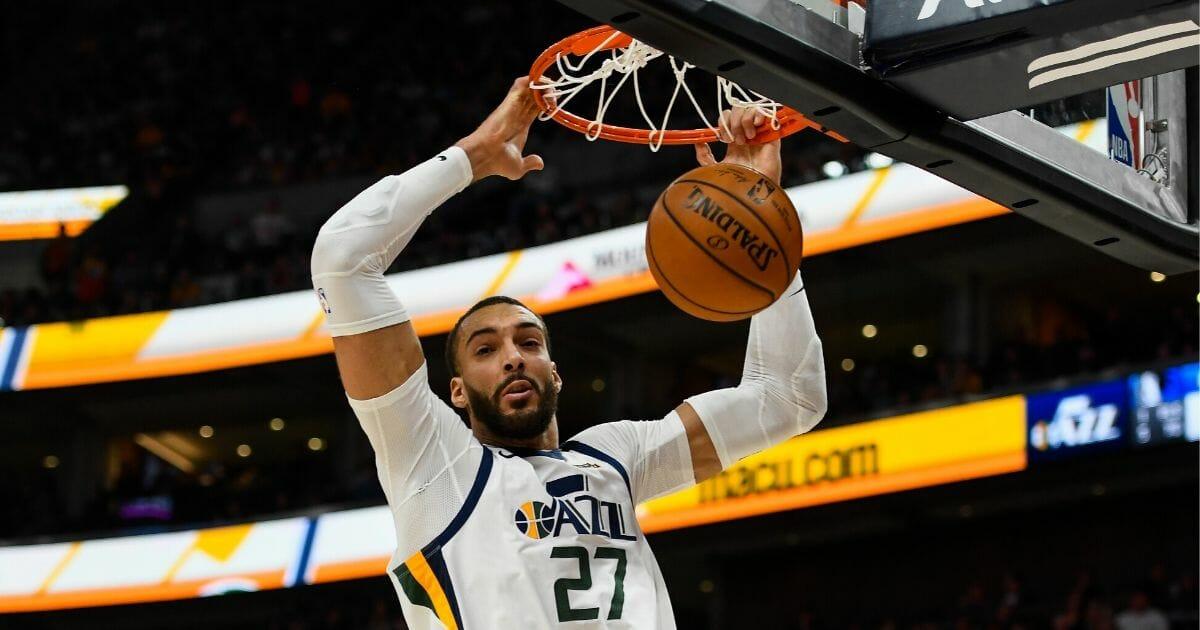 Rudy Gobert of the Utah Jazz dunks during a game against the Dallas Mavericks at Vivint Smart Home Arena in Salt Lake City on Jan. 25, 2019.