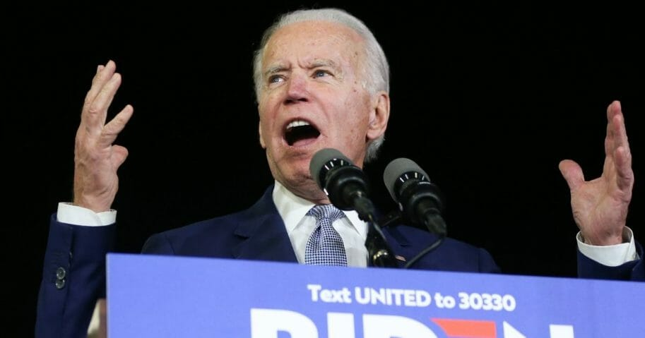 Democratic presidential candidate former Vice President Joe Biden speaks at a Super Tuesday campaign event at Baldwin Hills Recreation Center on March 3, 2020, in Los Angeles, California.
