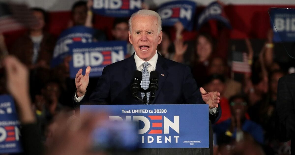 Democratic presidential candidate and former Vice President Joe Biden speaks at his primary night event at the University of South Carolina in Columbia on Feb. 29, 2020.