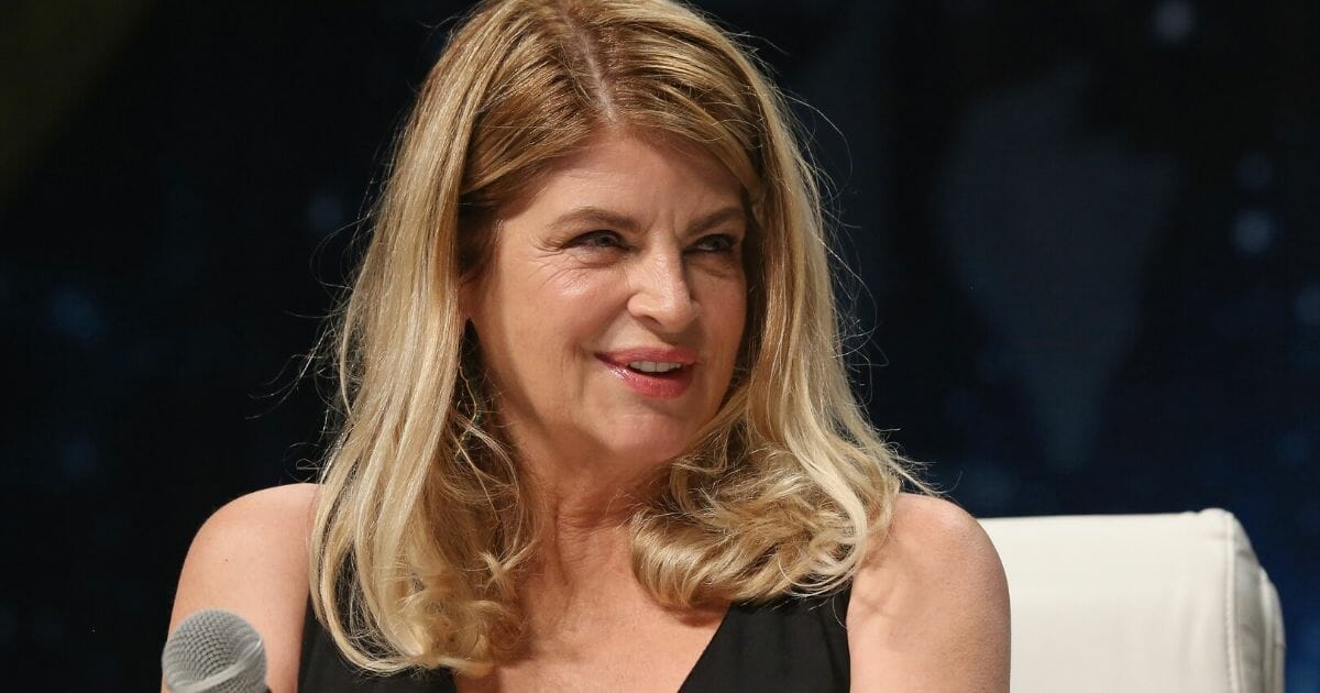Actress Kirstie Alley speaks during the 15th annual Star Trek convention at the Rio Hotel & Casino in Las Vegas on Aug. 5, 2016.