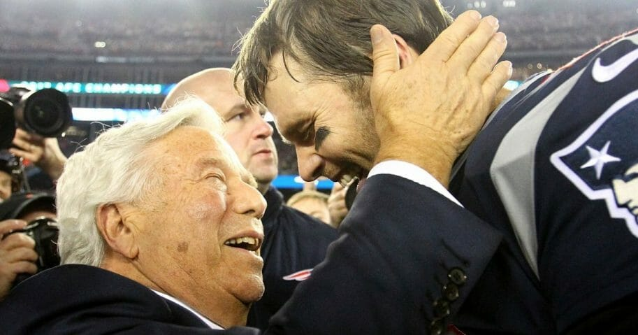 Quarterback Tom Brady celebrates with New England Patriots owner Robert Kraft after winning the AFC championship game against the Jacksonville Jaguars on Jan. 21, 2018, at Gillette Stadium.