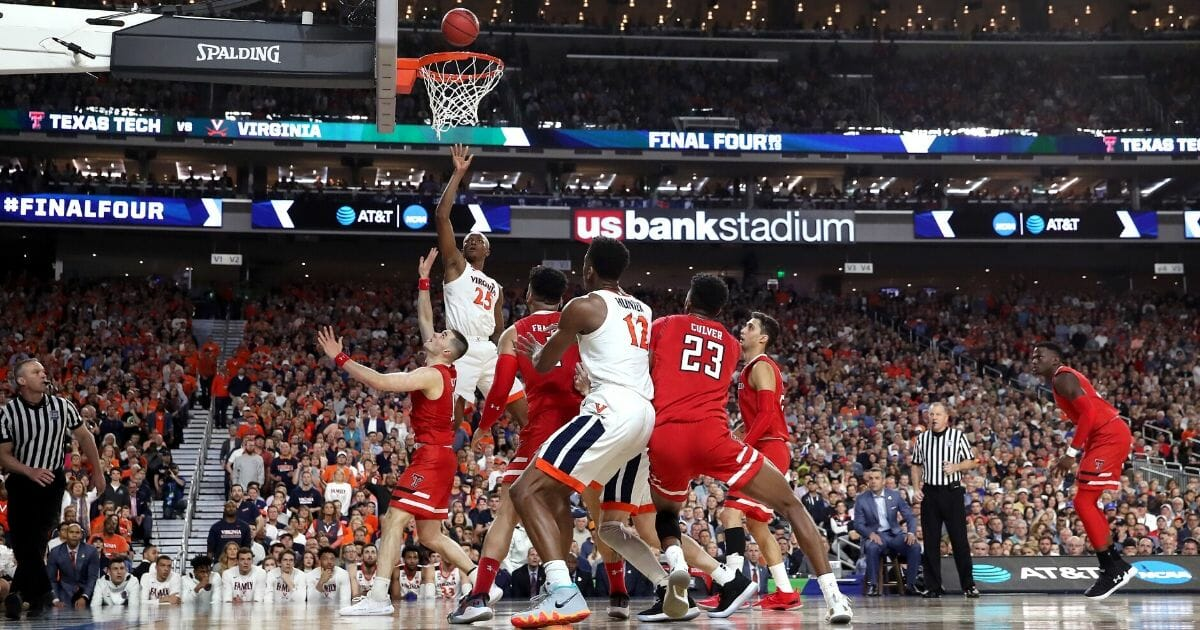 Mamadi Diakite of the Virginia Cavaliers attempts a shot against the Texas Tech Red Raiders in the 2019 NCAA men's championship game at U.S. Bank Stadium in Minneapolis on April 8, 2019.