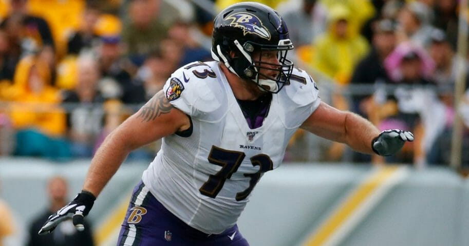 Marshal Yanda of the Baltimore Ravens in action against the Pittsburgh Steelers on Oct. 6, 2019, at Heinz Field.