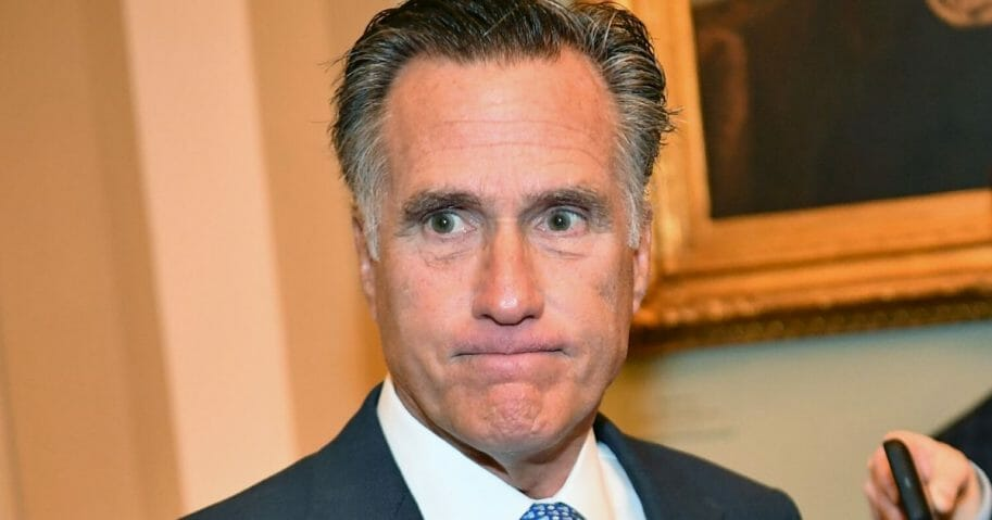 Sen. Mitt Romney of Utah speaks to reporters at the Capitol in Washington on Jan. 21, 2020.