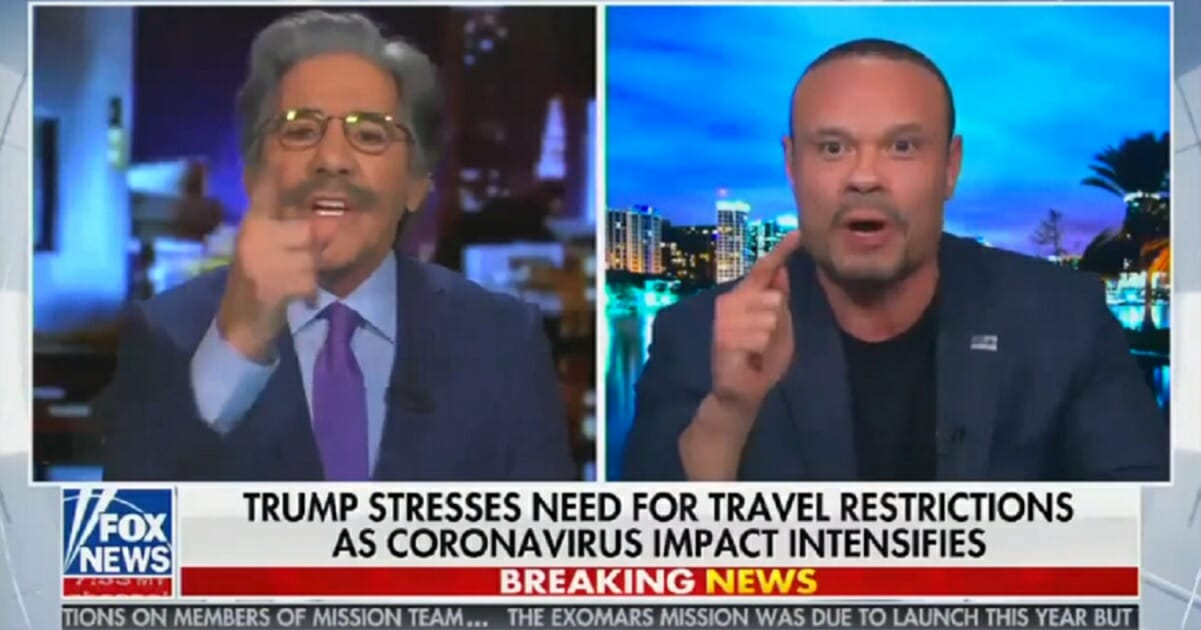 "Fox News contributor Geraldo Rivera, left, engages in a shouting match with Fox News contributor and former Secret Service Agent Dan Bongino on Thursday on ""Hannity."""