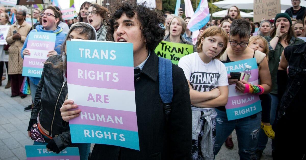 Transgender rights activists rally in Love Park in Philadelphia in 2018.