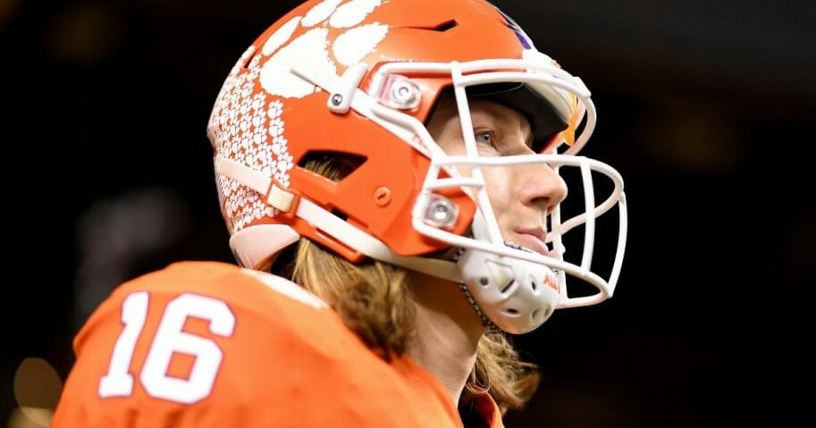 Trevor Lawrence #16 of the Clemson Tigers looks on prior to the College Football Playoff National Championship game against the LSU Tigers at Mercedes Benz Superdome on Jan. 13, 2020. in New Orleans, Louisiana.