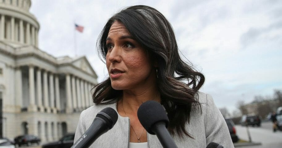 Democratic presidential candidate Rep. Tulsi Gabbard (D-Hawaii) speaks to reporters at the U.S. Capitol after the last votes of the week on Jan. 10, 2020, in Washington, D.C.