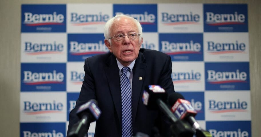Democratic presidential contender and Vermont Sen. Bernie Sanders speaks at a news conference in Salt Lake City, Utah, on Monday.
