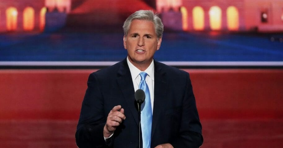 Then-House Majority Leader Kevin McCarthy delivers a speech on the second day of the Republican National Convention on July 19, 2016, at the Quicken Loans Arena in Cleveland.