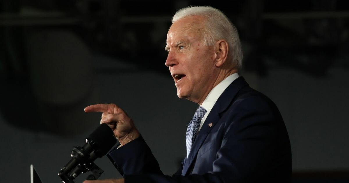 Democratic presidential candidate former Vice President Joe Biden speaks on stage after declaring victory in the South Carolina presidential primary on Feb. 29, 2020, in Columbia, South Carolina.