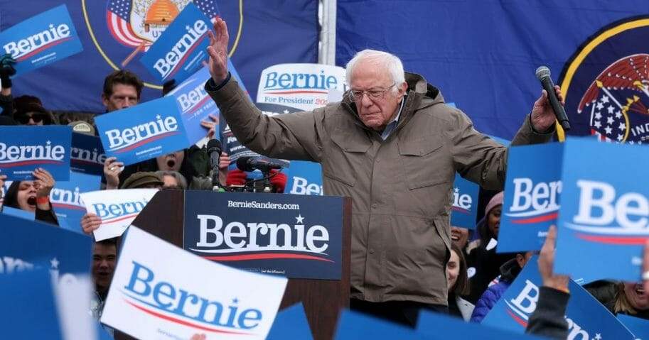 Democratic presidential candidate Sen. Bernie Sanders of Vermont addresses supporters during a campaign rally in the Central Mall of the Utah State Fair Park on March 2, 2020, in Salt Lake City.