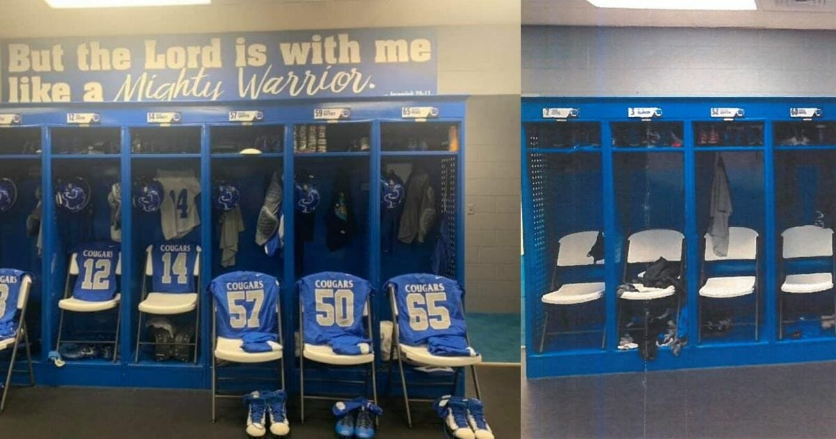 A high school locker room in Kentucky that was repainted after the Freedom From Religion Foundation objected to a Bible verse displayed on the wall.