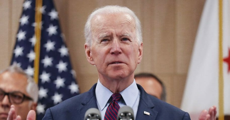 Democratic presidential candidate former Vice President Joe Biden speaks while standing with supporters at a campaign event at the W Los Angeles hotel on March 4, 2020, in Los Angeles.