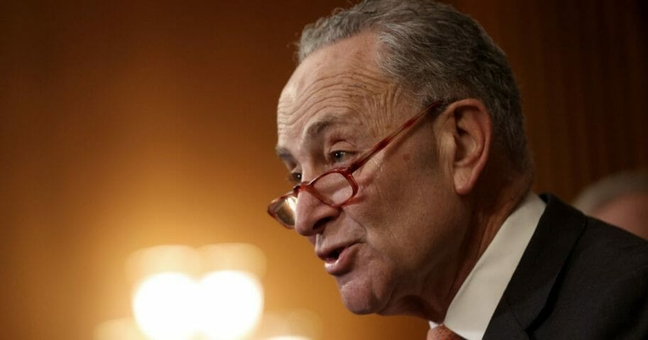 Senate Minority Leader Chuck Schumer speaks at a news conference with members of the House and the Senate marking the one year anniversary of the House passing HR-1, the For The People Act, on March 10, 2020, in Washington, D.C.