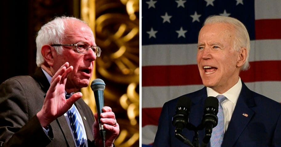 Sen. Bernie Sanders, left; and former Vice President Joe Biden, right.