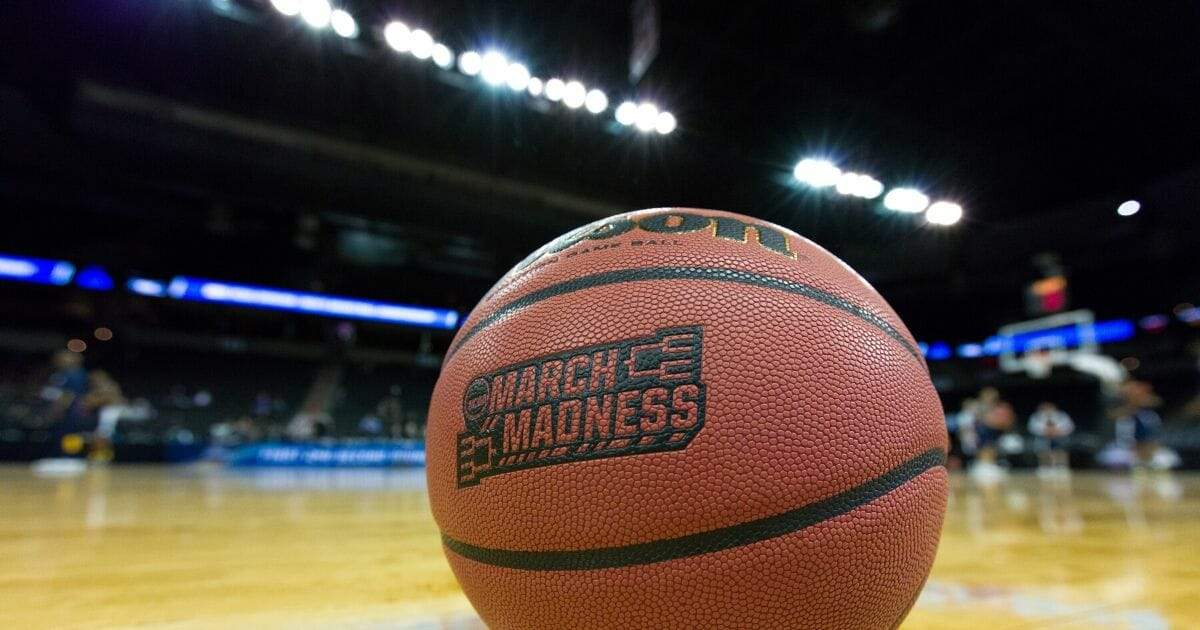A game ball sits on court the day prior to the start of the 2016 NCAA Men's Basketball Tournament games at the Spokane Veterans Memorial Arena in Spokane, Washington.