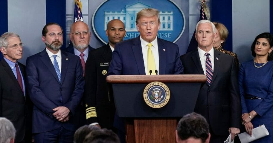 President Donald Trump speaks during a media briefing with members of the White House Coronavirus Task Force team in a file photo from March 9.