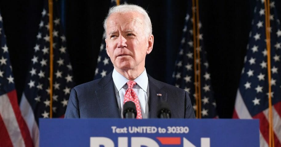 Former Vice President Joe Biden addresses reporters during a March 12 media event in Wilmington, Delaware.