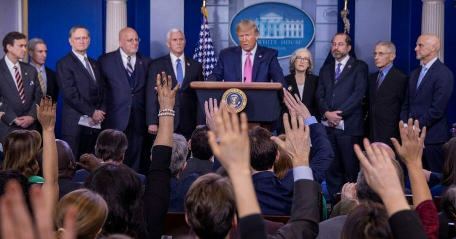 President Donald Trump speaks at a February news conference about his administration's plans for handling the coronavirus outbreak.