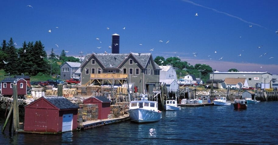 A fishing community on the island of Vinalhaven in Maine.