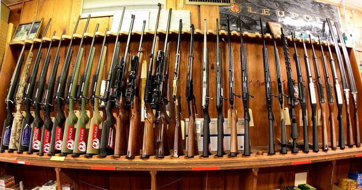 Various rifles on display at Clark Brothers gun store in Warrenton, Virginia, on Jan. 16, 2020.