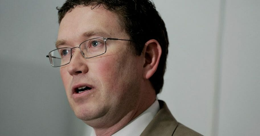 Republican Rep. Thomas Massie of Kentucky speaks during a news conference in the Cannon House Office Building on March 12, 2014, in Washington, DC.