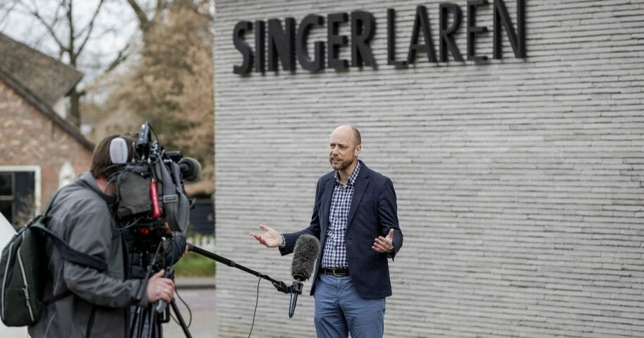 Evert van Os, general director of the Singer Laren museum, speaks to the media outside the museum on March 30, 2020, in the town of Laren in the Netherlands.