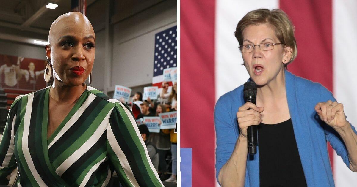Rep. Ayanna Pressley, left; and Sen. Elizabeth Warren, right.l