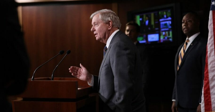 Republican Sen. Lindsey Graham of South Carolina speaks during a news conference at the U.S. Capitol regarding the stimulus bill intended to combat the economic effects of the coronavirus on March 25, 2020.