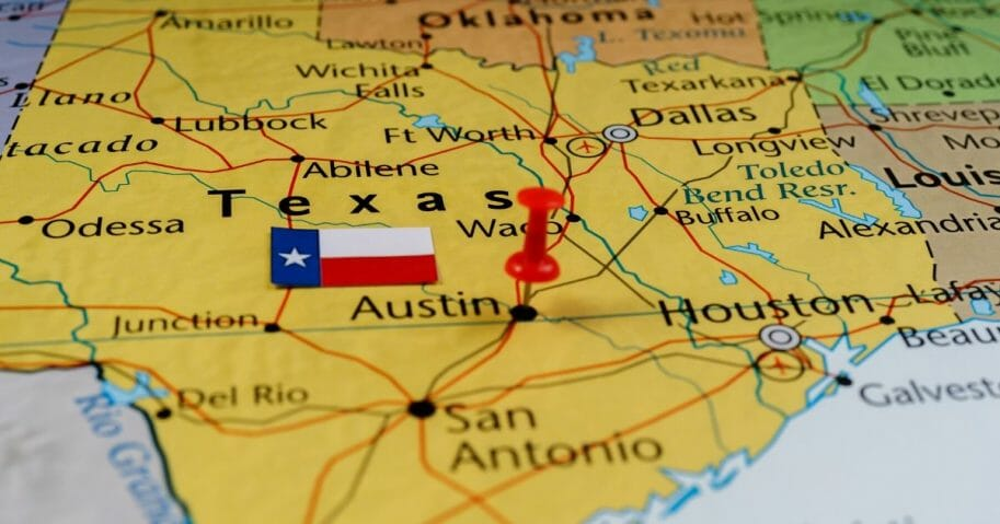 Stock image of a map of Texas.