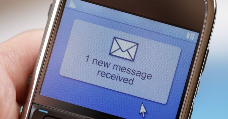 Stock image of a text message received on a mobile phone.