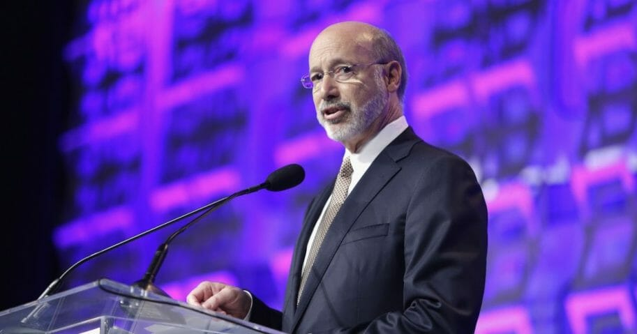 Pennsylvania Gov. Tom Wolf speaks onstage during the Pennsylvania Conference For Women at the Pennsylvania Convention Center on Nov. 19, 2015, in Philadelphia.