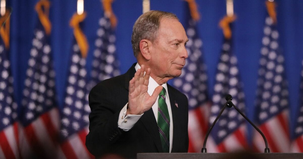 Former Democratic presidential candidate Mike Bloomberg addresses his staff and the media after announcing that he will be ending his campaign on March 4, 2020, in New York City.