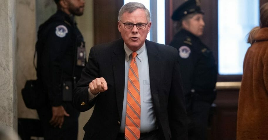 Republican Sen. Richard Burr of North Carolina arrives for the Senate impeachment trial of President Donald Trump at the Capitol on Jan. 21, 2020.