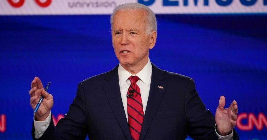 Democratic presidential hopeful former Vice President Joe Biden participates in a primary debate at a CNN Washington Bureau studio in Washington, D.C. on March 15, 2020.