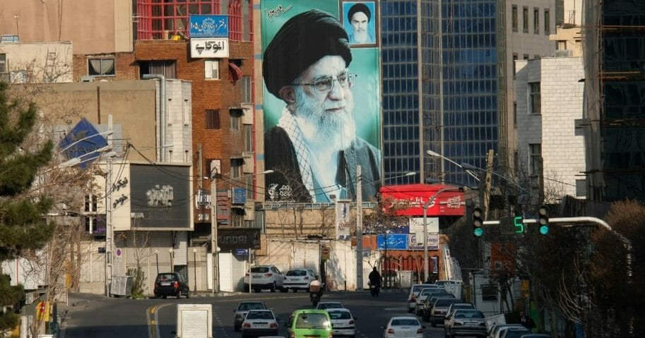 A huge mural of Ayatollah Ali Khamenei, Iran's supreme leader, is seen on Motahari street on March 8, 2020, in Tehran, Iran.
